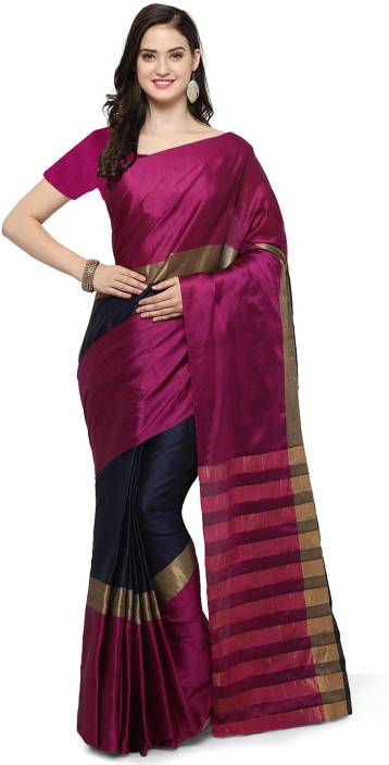 Ratnavati Striped, Solid Kanjivaram Cotton, Art Silk Saree