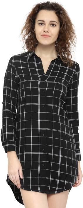 Hive91 Women's Checkered Casual Black Shirt