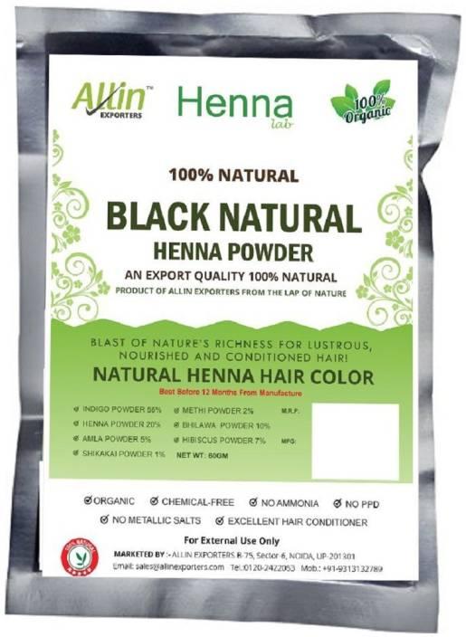 Allin Exporters Black Henna Hair Color – 100% Organic and Chemical Free  Henna for Hair Color Hair Care - ( 60 Gram = 1 Packet)