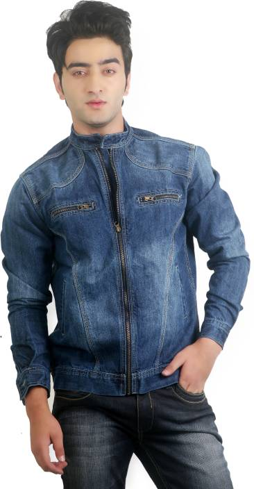 Ripfly Full Sleeve Solid Men's Nehru Denim Jacket - Buy Blue ...