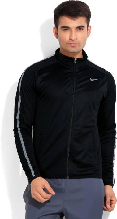Nike Full Sleeve Solid Men's Sports Jacket - Buy Black Nike Full ...