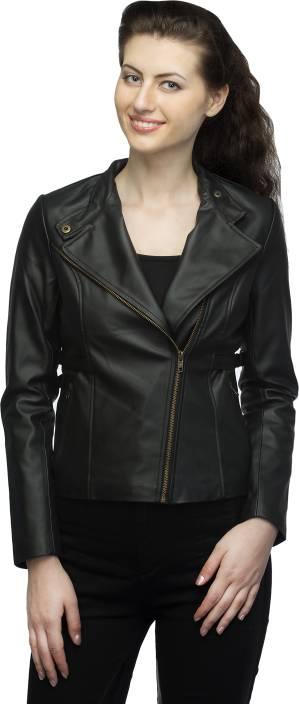 c55bd4074bf Lambency Full Sleeve Solid Women s Biker Jacket - Buy Black Lambency ...