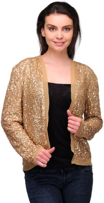 372a0882ff GLORIA Full Sleeve Embellished Women's Sequined Jacket - Buy Gold GLORIA  Full Sleeve Embellished Women's Sequined Jacket Online at Best Prices in  India ...