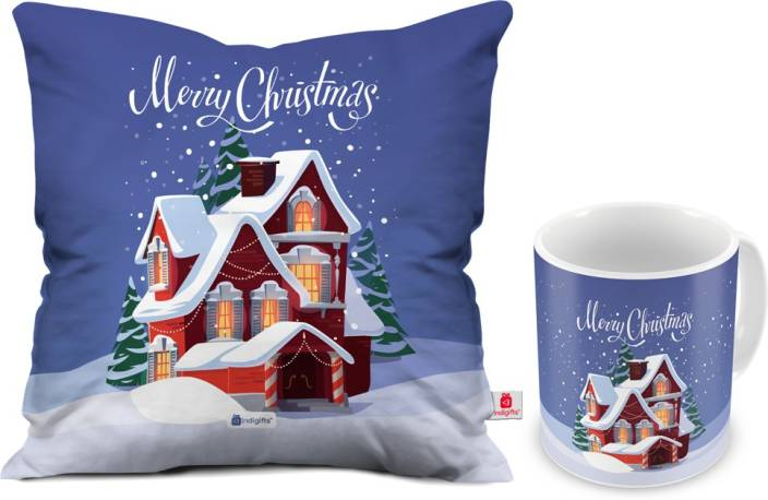 Indigifts 0D-0CM001-0XMS-Y15-D033 Cushion, Mug Gift Set