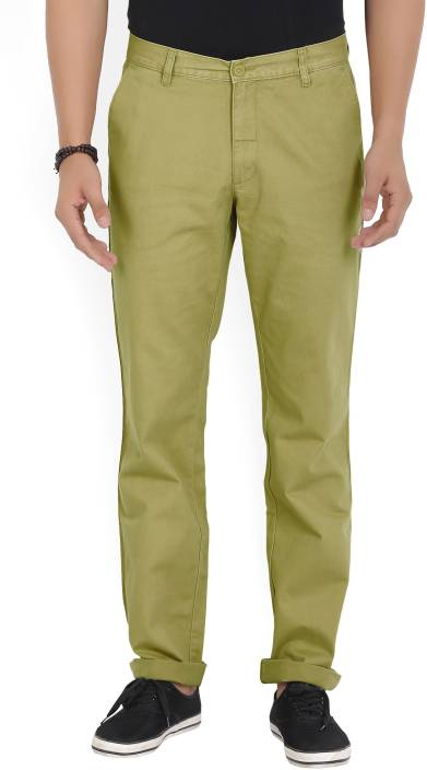 John Players Regular Fit Men's Brown Trousers