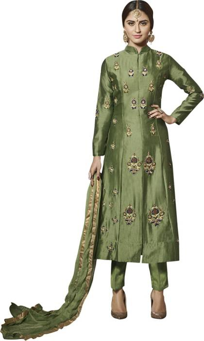 Saara Cotton Embroidered, Embellished Semi-stitched Salwar Suit Dupatta Material