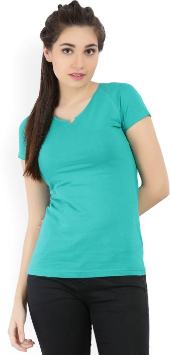 Jealous Casual Cap Sleeve Solid Women Green Top