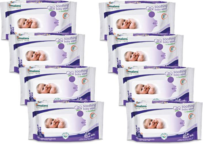 Himalaya Soothing Babay Wipes-12 (Pack of 8) 96 Wipes