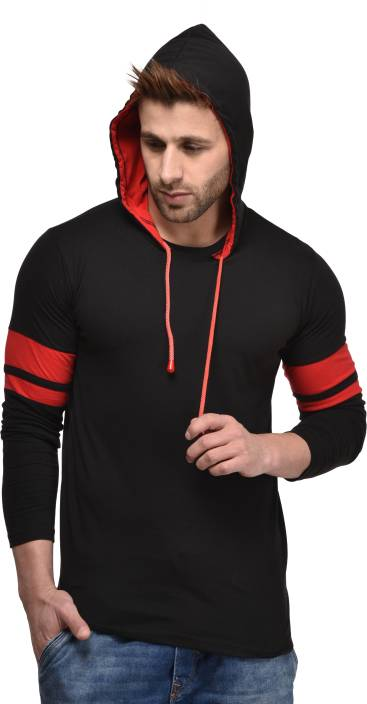 Kay Dee Solid Men's Hooded Black T-Shirt