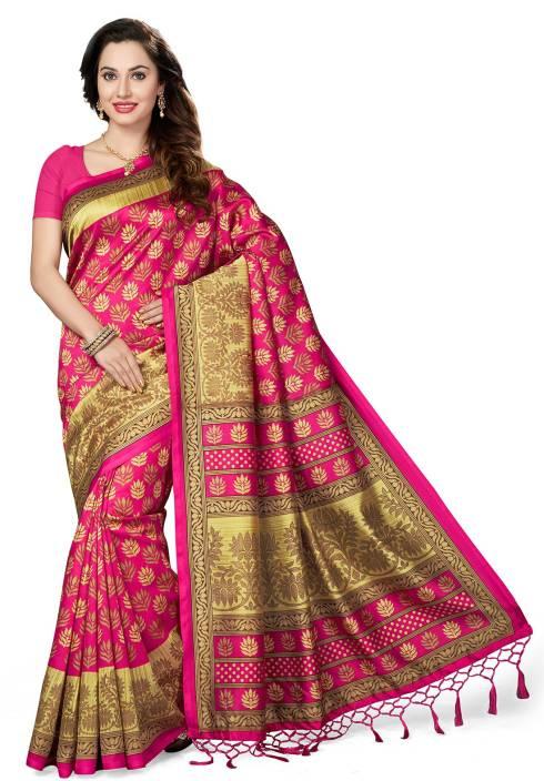 Ishin Printed Bhagalpuri Art Silk Saree  (Pink)