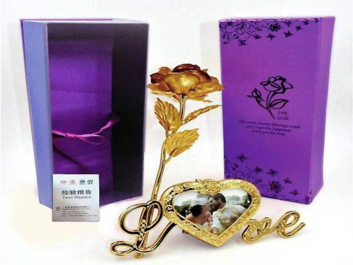 Lata Photo frame with Gold Flower Photoframe, Artificial Flower, Showpiece Gift Set