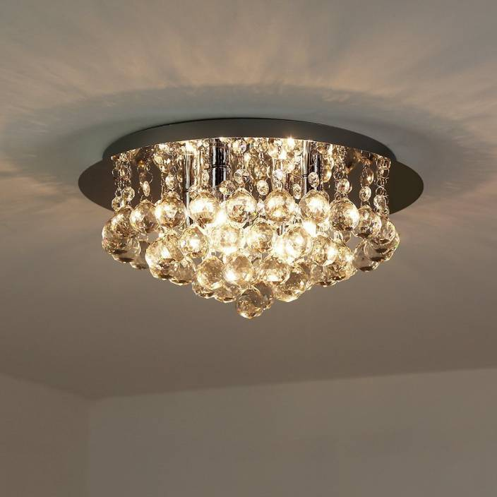 . Discount4product Modern Ceiling Light Led Light Glass Beads Crystal Pendant  Fixture  35 CM WIDE  1 FEET HIGHT  3 BULB Chandelier Ceiling Lamp