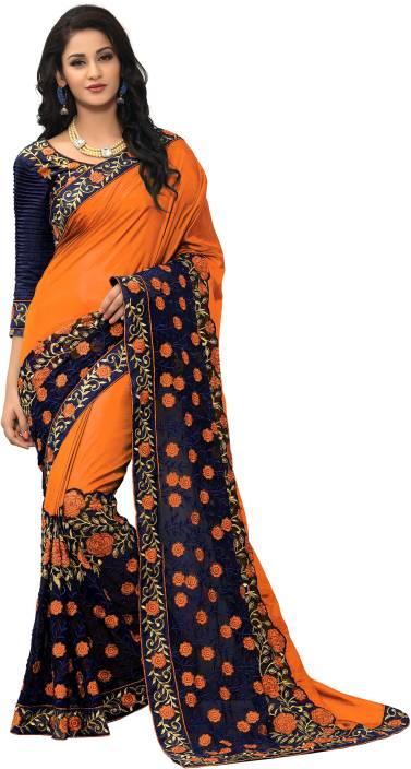 e39362b24b Buy onlinefayda Embroidered Fashion Silk Orange Sarees Online @ Best ...