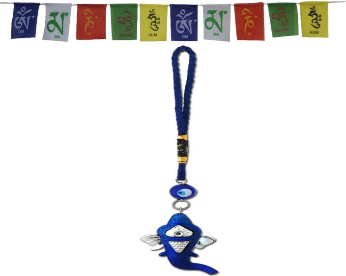 DivyaMantra Combo Of Prayer Flag For Bike and Ganesha Evil Eye Car
