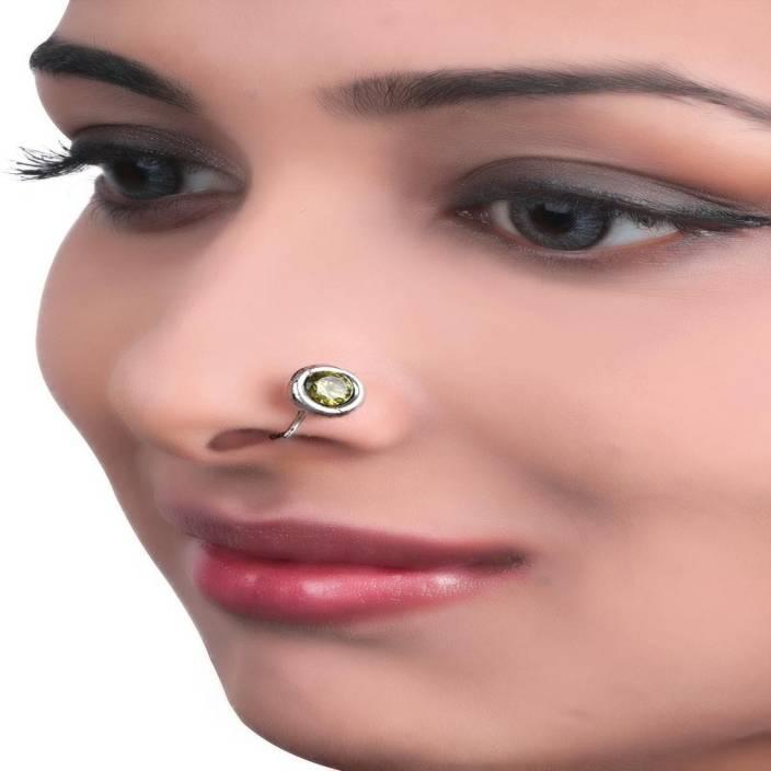 Tjori Enamel Plated Silver Nose Ring Price In India Buy Tjori