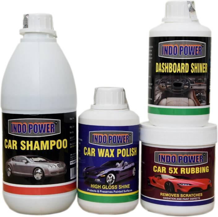 INDOPOWER CAR WASH SHAMPOO ,DASHBOARD POLISH, CAR WAX POLISH