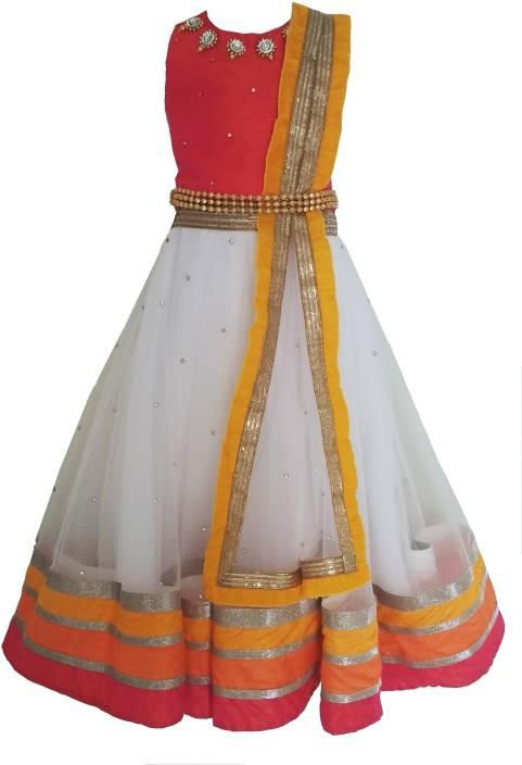 89ff5031a7 Angel wears Girl's Lehenga Choli Ethnic Wear Self Design Lehenga, Choli and  Dupatta Set (White, Pack of 1)