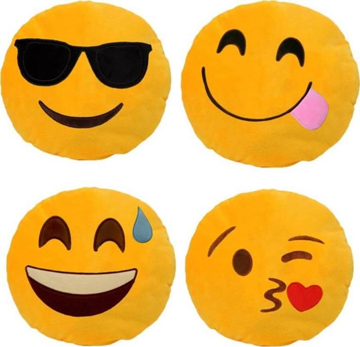042ea58e7ec Shiv Shakti Combo Emoji Smile Pillow, pack-4 Decorative Cushion Pack of 4 ( Yellow, Black, Red)