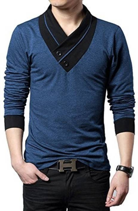 Try This Self Design Men's V-neck Blue T-Shirt