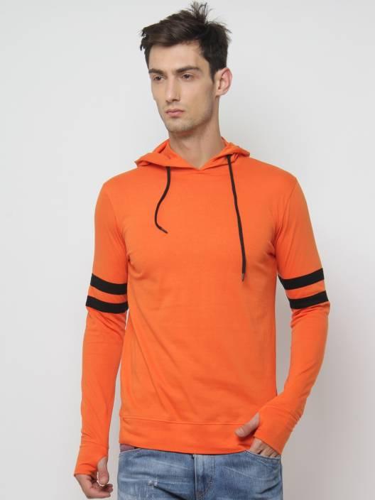 SayItLoud Solid Men's Hooded Orange T-Shirt