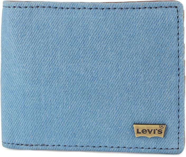 Levi's Men Blue Genuine Leather, Denim Wallet