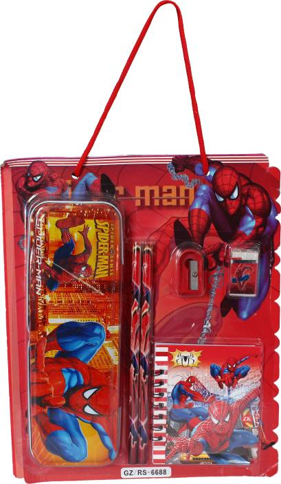 Anvi ANG Spider Man Cartoon Printed Stationery Set for Kids