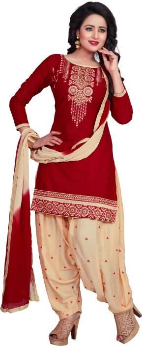Fashion Ritmo Cotton Embroidered Semi-stitched Salwar Suit Dupatta Material