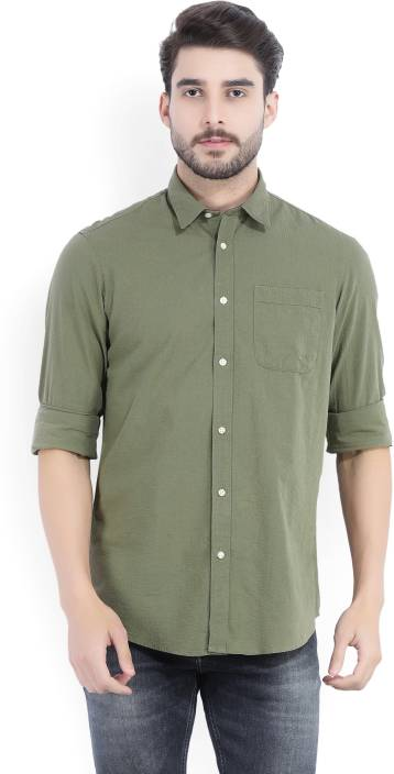 132e8ccd6754 ARROW BLUE JEANS CO. Men's Solid Casual Dark Green Shirt - Buy Olive ARROW  BLUE JEANS CO. Men's Solid Casual Dark Green Shirt Online at Best Prices in  India ...