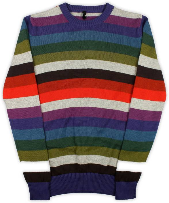 ad51ff2d6c62cd United Colors of Benetton Striped Round Neck Casual Baby Boys Multicolor  Sweater