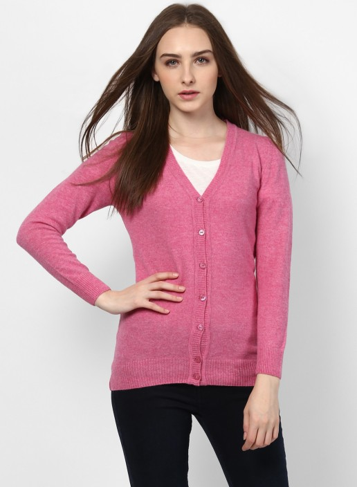 Monte Carlo Solid V,neck Casual Women Pink Sweater , Buy Monte Carlo Solid  V,neck Casual Women Pink Sweater Online at Best Prices in India
