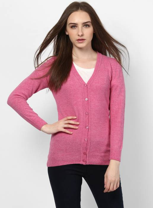 6a9e4a6afd76 Monte Carlo Solid V-neck Casual Women Pink Sweater - Buy Monte Carlo ...