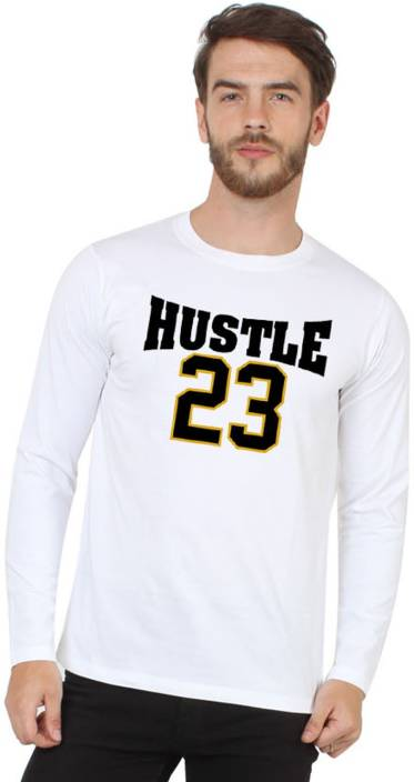 HUSTLE Printed Men's Round Neck White T-Shirt