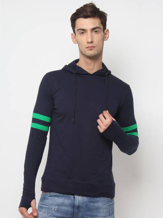 SayItLoud Solid Men's Hooded Blue, Green T-Shirt