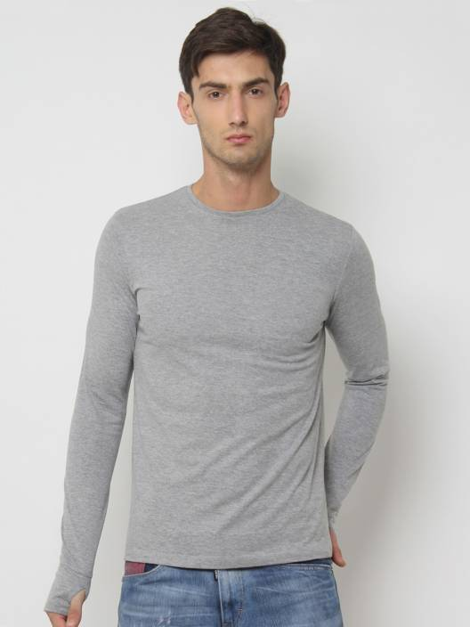 SayItLoud Solid Men's Round Neck Grey T-Shirt