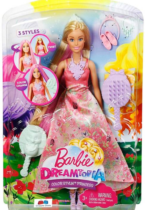 GRAPPLE DEALS Barbie Dreamtopia Color Stylin Princess Doll Three Different  Looks And Endless Styling And Story Telling fun For Kids. (Multicolor) d64938be78