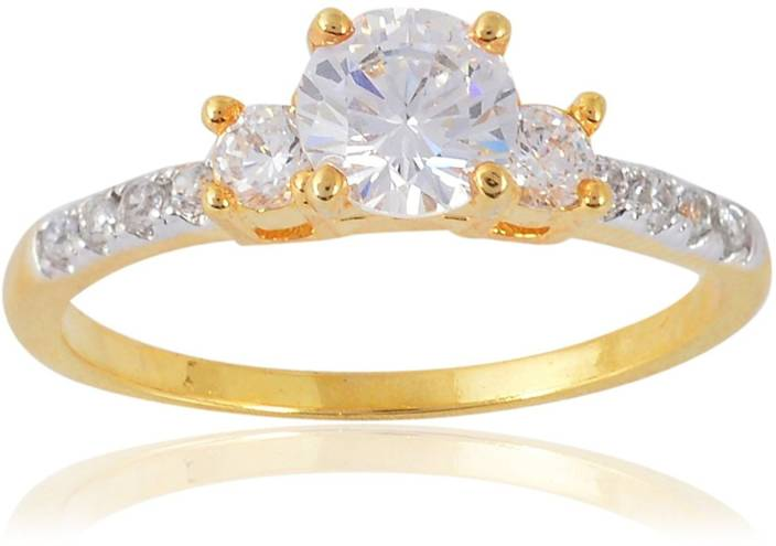 bf20c5a13 Devanjali Designer Fancy Stylish Triology American Diamonds Gold Plated  Solitaire Ring for Women Girls Alloy Cubic Zirconia Gold-plated Plated Ring  Price in ...