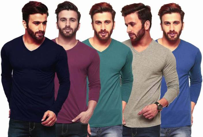 Himgiri International Solid Mens Round Neck Multicolor T-Shirt  (Pack of 5)