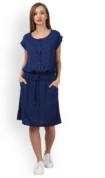 426674911 Tokyo Talkies Women s Blouson Blue Dress - Buy NAVY BLUE PINK Tokyo Talkies  Women s Blouson Blue Dress Online at Best Prices in India