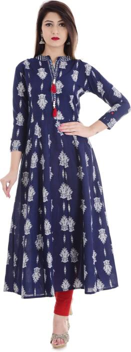 Stylum Casual Block Print Women Kurti  (White, Blue)