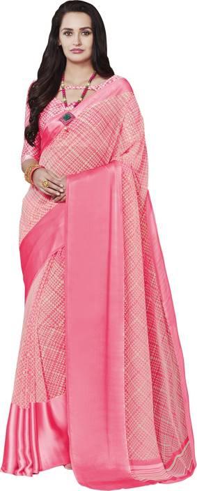 Ratnavati Geometric Print, Digital Prints Bollywood Faux Georgette, Satin Saree