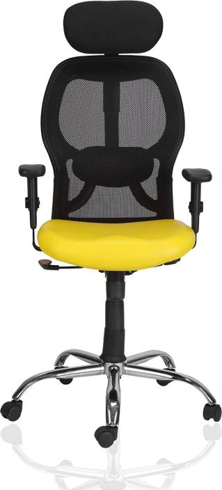Green Soul New York High Back Mesh Office Chair Yellow Leatherette