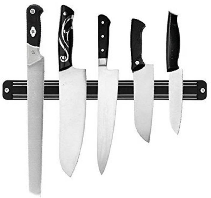 Iktu 33cm Magnetic Knife Bar Magnetic Knife Storage Strip Magnet Kitchen Knife Holder Knife Rack Strip Patti 13 Inch Black Kitchen Organiser