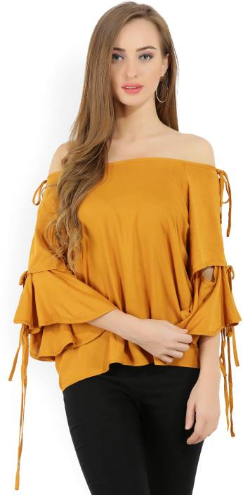 Tokyo Talkies Casual Bell Sleeve Solid Women's Yellow Top