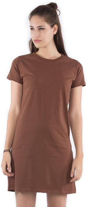 Bewakoof Women's T Shirt Brown Dress