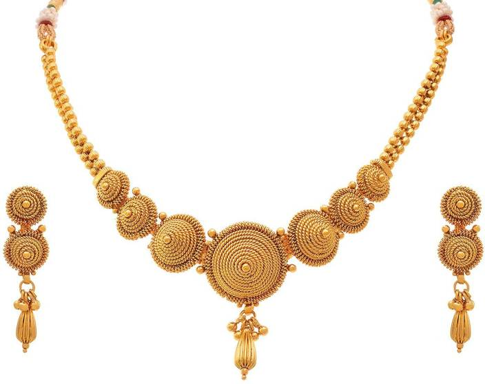 62c41374f01 Meenaz Meenaz Jewellery Gold plated Jewellery Set Necklace for womens with  Ear rings for girls Traditional ...