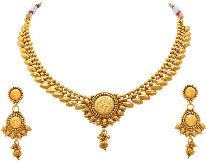a6fd7f795fb Meenaz Meenaz Fashion Jewellery for womens Gold plated Jewellery Set  Necklace for women Wedding Bridal saree with Earrings ...