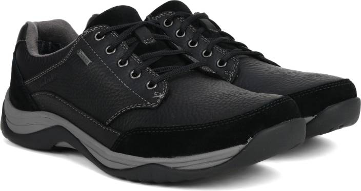 Clarks BaystoneGo GTX Black Leather Casual Shoes For Men