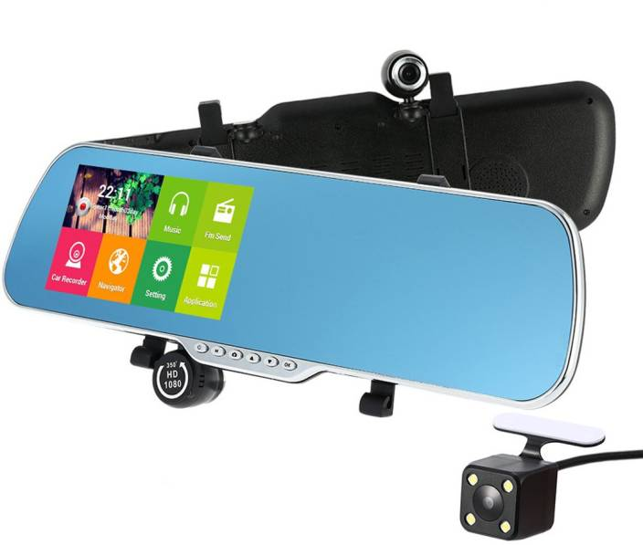 "Bluebird Car Camera Recorder Rearview Mirror DVR 7"" 1080P Android Smart System GPS Navigation Dual Lens ..."