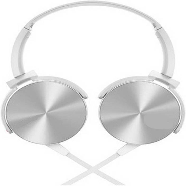 techdeal MDR-XB450 On-Ear EXTRA BASS STEREO (White, On the Ear) Wired Headset with Mic