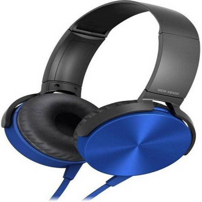 techdeal MDR-XB450 On-Ear EXTRA BASS STEREO (Blue, On the Ear) Wired Headset with Mic